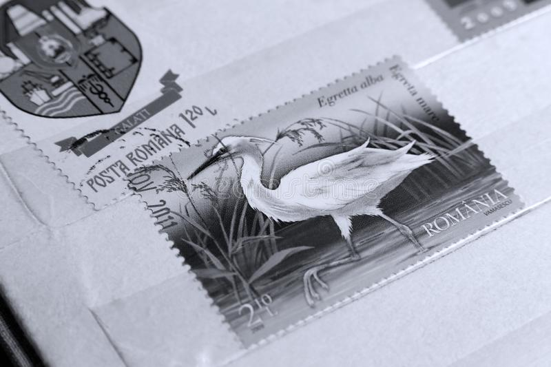 Post stamp, The Great Egret royalty free stock images