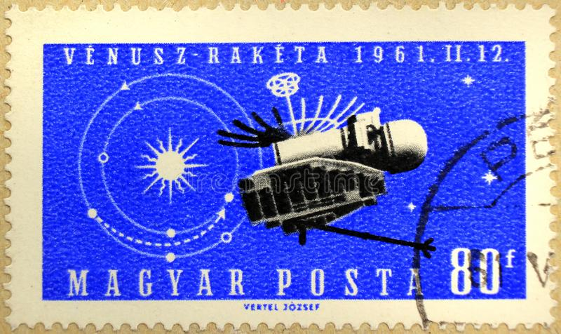 Post stamp of Hungary depicting a satellite stock photos