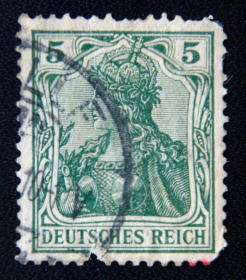 A post stamp printed in GERMAN EMPIRE with the inscription `DEUTSCHES REICH`, circa 1902. MOSCOW RUSSIA - NOVEMBER 25, 2012: a post stamp printed in GERMAN stock photography