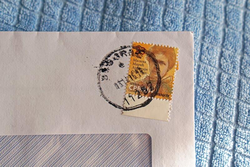 Post stamp. Serbian post stamp Mileva Maric Einstein with postmark stock images