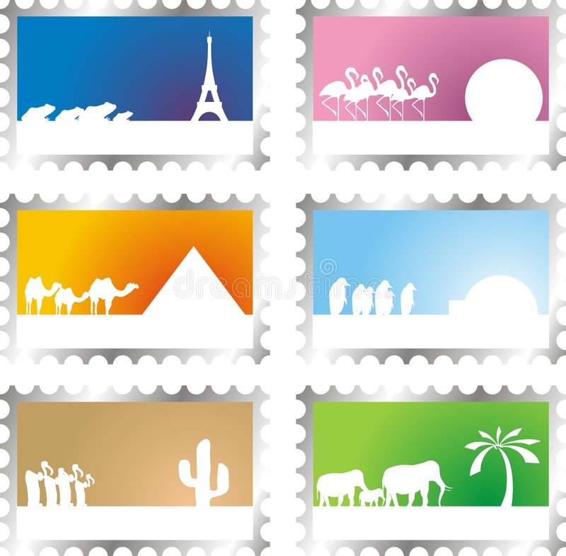 Post stamps. Set of six post stamps with vacation scenes royalty free illustration