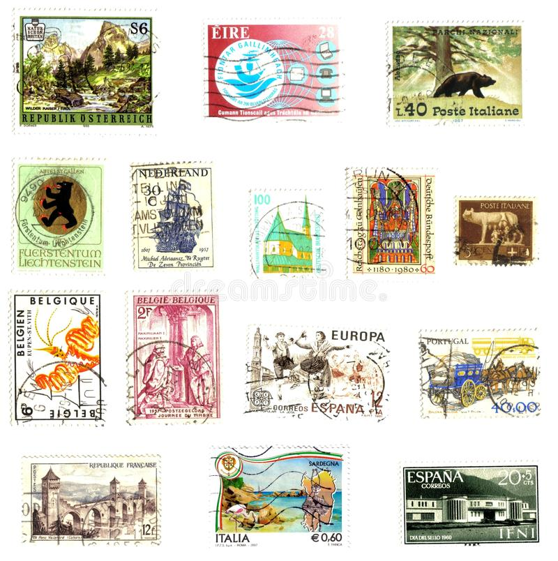 Post stamps background royalty free stock photos