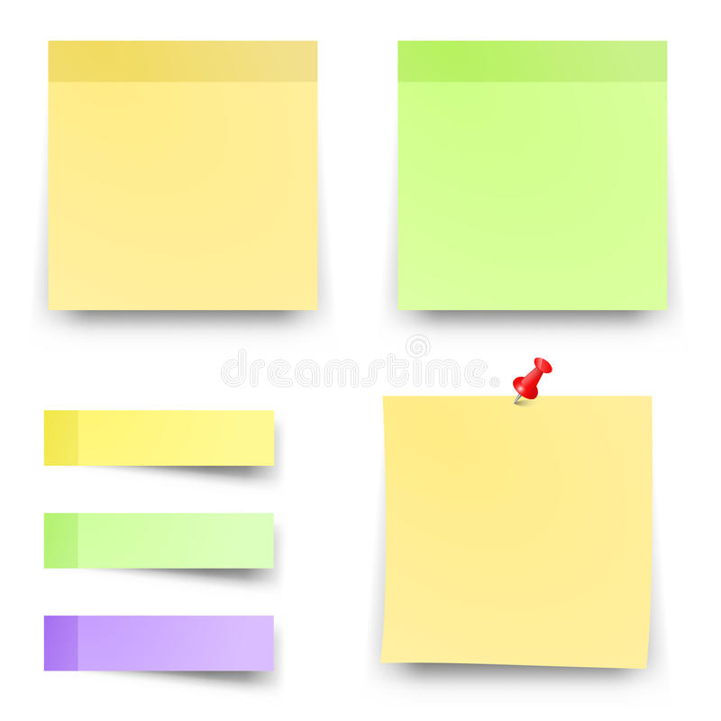 Post sticky colored papers vector office notes royalty free illustration