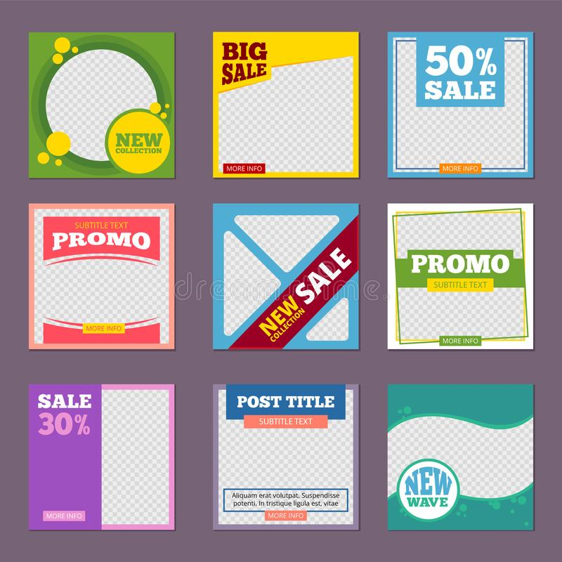 Post template. Editable promo banners with place for personal pictures and text big sales vector posting colored designs. Brochure promotion discount sale royalty free illustration