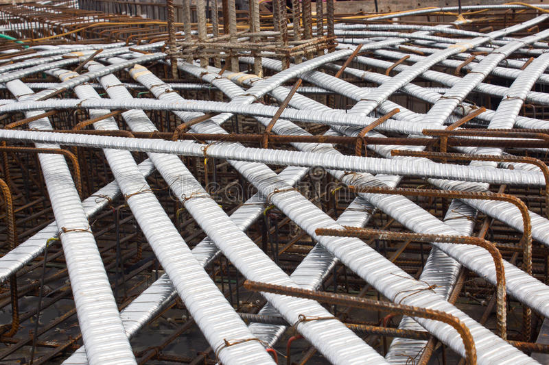 Post tension system, concrete reinforcement with tension cables in the structure of beam, system bridge gird floor, floor building stock photography