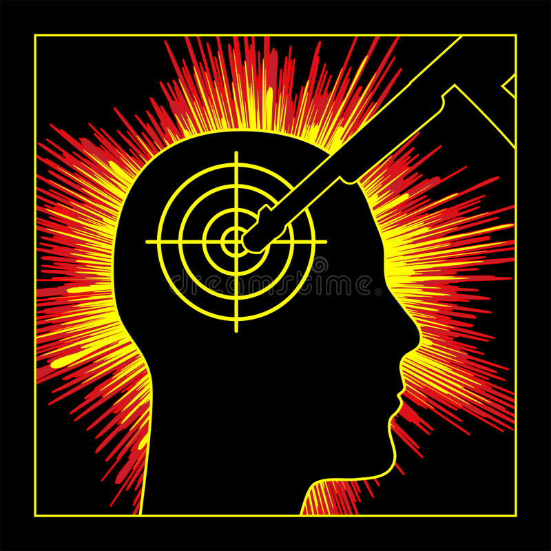 Post Traumatic Stress Disorder. Person exposed to traumatic events like war or terrorism developing mental disorder vector illustration