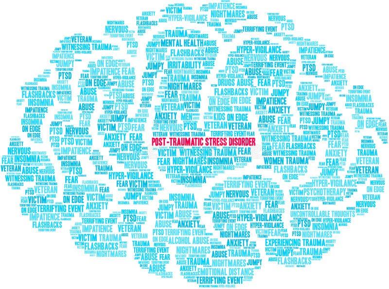 Post-traumatische Spanningswanorde Brain Word Cloud stock illustratie