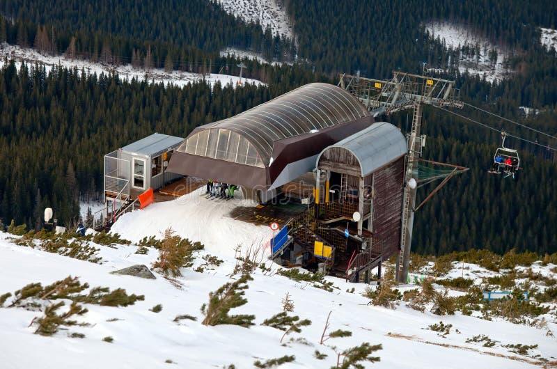 Post van de skistoeltjeslift stock afbeeldingen