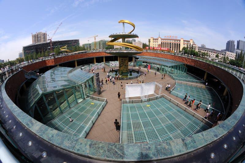 Post van de tianfu de vierkante metro van Chengdu royalty-vrije stock fotografie