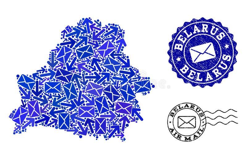 Post-Verkehrs-Collage der Mosaik-Karte von Weißrussland- und Schmutz-Dichtungen vektor abbildung