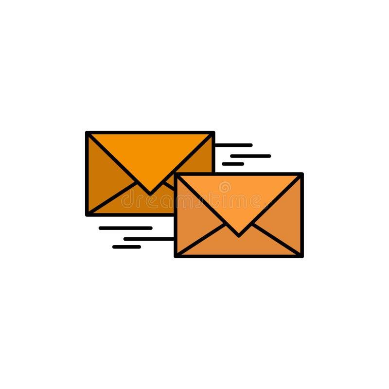 Post, Voorwaarts Antwoord, Zaken, Correspondentie, Pictogram van de Brieven het Vlakke Kleur Het vectormalplaatje van de pictogra stock illustratie