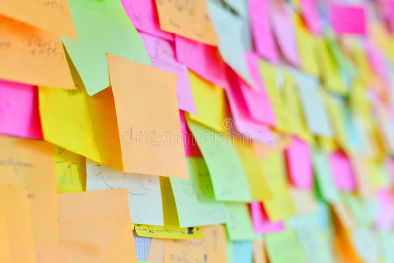Post it on white board stock photography