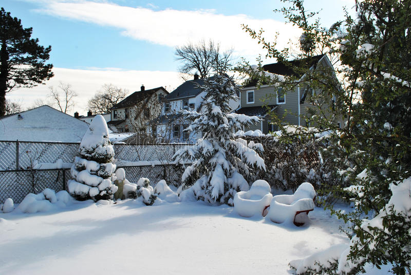 Post winter storm backyard in Valley Stream, LI stock image