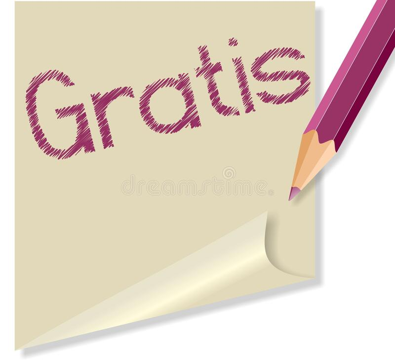 Post it with the word Gratis vector illustration