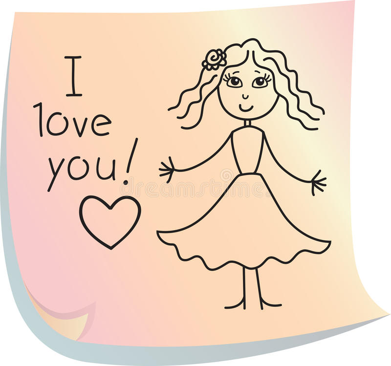 Post-it with words. Post-it with picture of girl with words I love you royalty free illustration