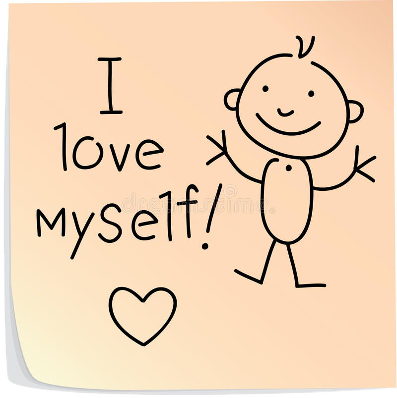 Post-it with words I love myself. Post-it with picture of man with words I love myself stock illustration