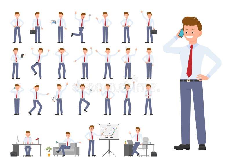 Postać z kreskówki biurowego mężczyzny różne pozy, emocja projekta set royalty ilustracja