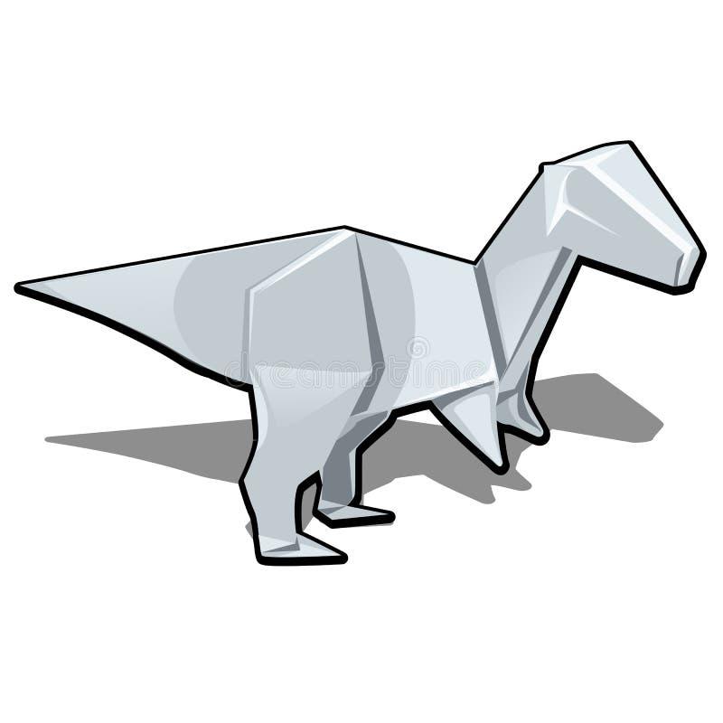Postać dinosaur w origami stylu odizolowywającym na białym tle Wektorowa kreskówki zakończenia ilustracja ilustracji