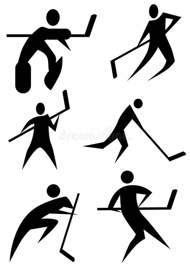 postać hokejowy ustalony kij ilustracji