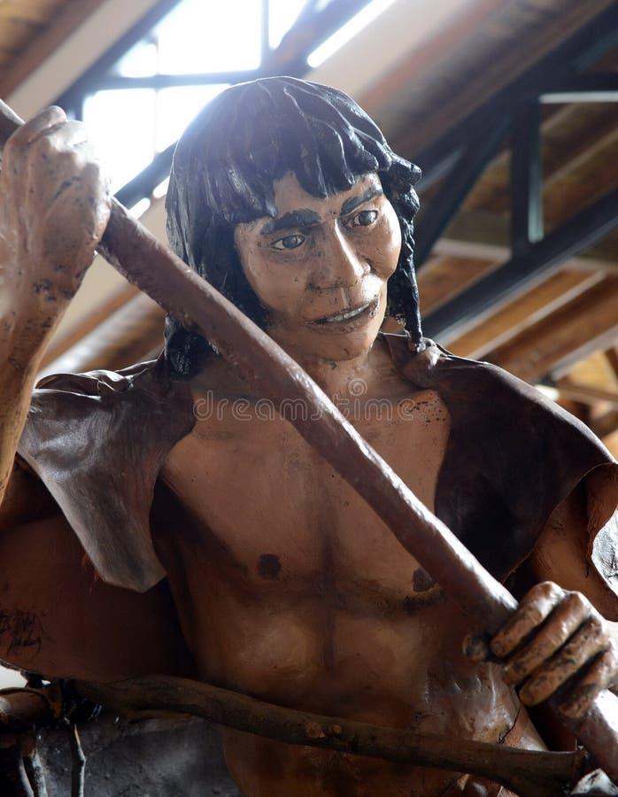 Postać Indiański plemię w muzealnym Yamana Tierra Del Fuego park narodowy obrazy stock