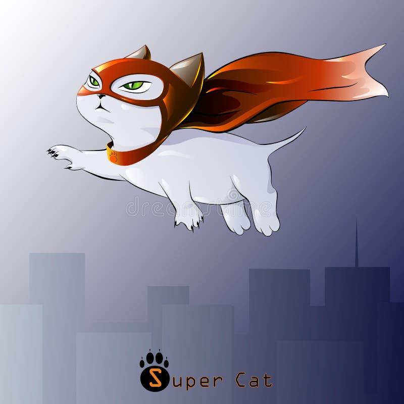 Postać kota bohater w locie, ilustracja wektor