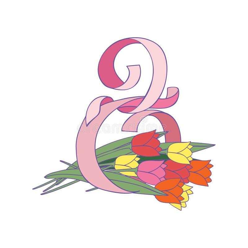 Postać osiem zrobił różowy faborek i piękny tulipan kwitnie Międzynarodowy kobiet s dzień 8 Marzec 10 tło projekta eps techniki w ilustracji