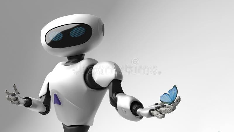Postać robot i butterfliy na białym tle ilustracja wektor