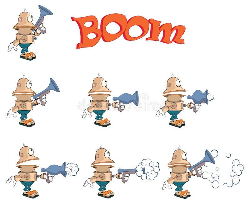 Postać z kreskówki śliczny robot dla gry komputerowej royalty ilustracja