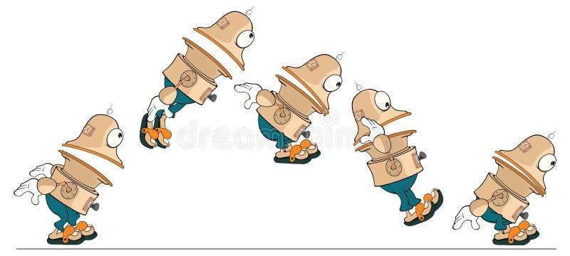 Postać z kreskówki śliczny robot dla gry komputerowej ilustracji