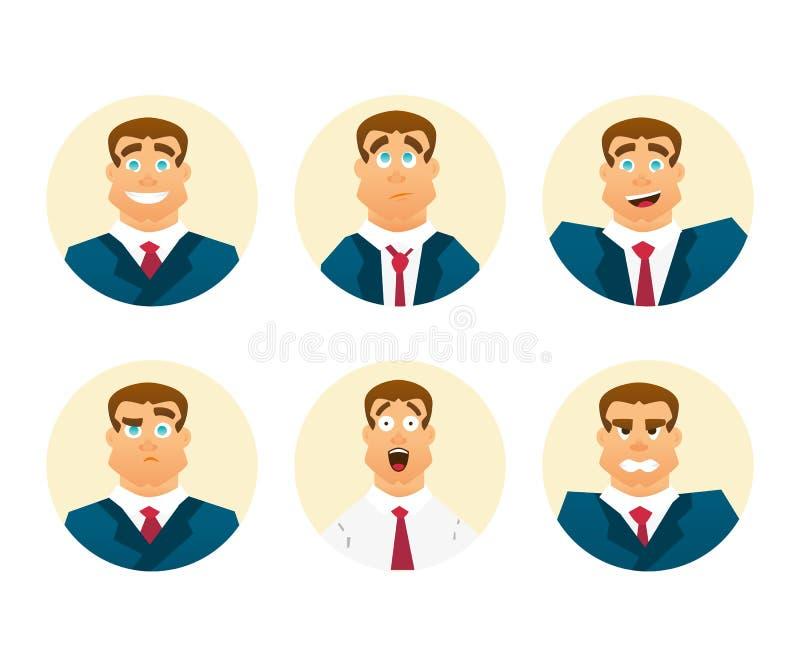 postać z kreskówki śmieszne Set biznesmen emocje Wyraz twarzy Mężczyzna avatar royalty ilustracja
