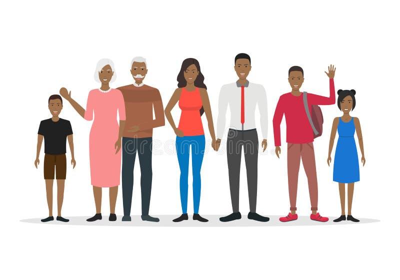 Postać Z Kreskówki amerykanina afrykańskiego pochodzenia rodziny setu ludzie wektor ilustracji