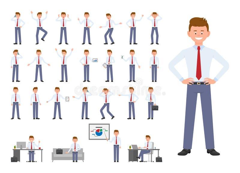 Postać z kreskówki biurowego kierownika różne pozy, emocja projekta set ilustracji