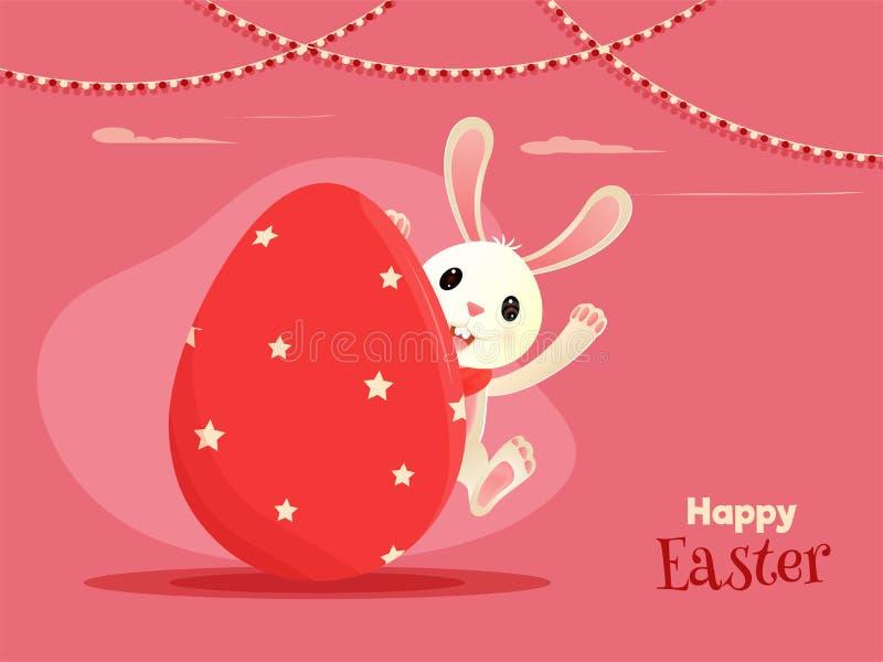 Postać z kreskówki chuje wśrodku jajka z tekstem Szczęśliwa wielkanoc śliczny królik royalty ilustracja