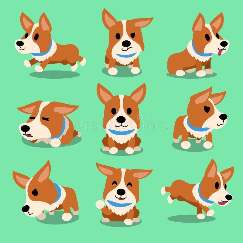 Postać z kreskówki corgi psa pozy ilustracja wektor