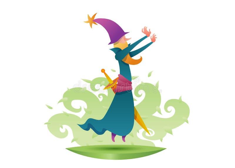 Postać z kreskówki czarownika magika alchemik ilustracja wektor