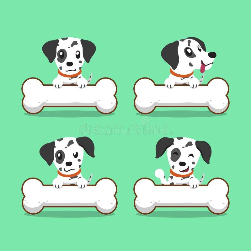 Postać z kreskówki dalmatian pies z dużymi kościami ilustracji