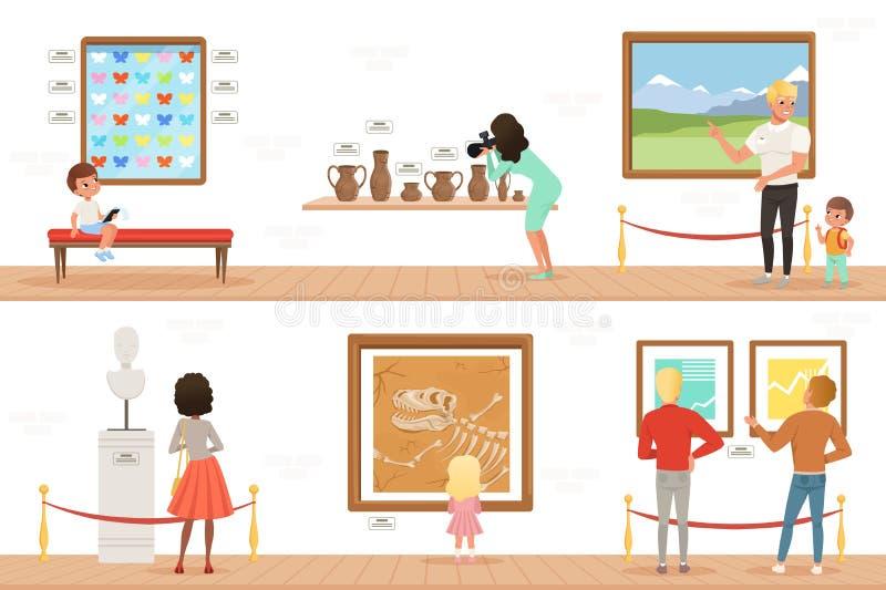Postać z kreskówki gości w muzeum sztuki ludzie Obrazy, motyle kolekcja i rzeźby w galerii, royalty ilustracja