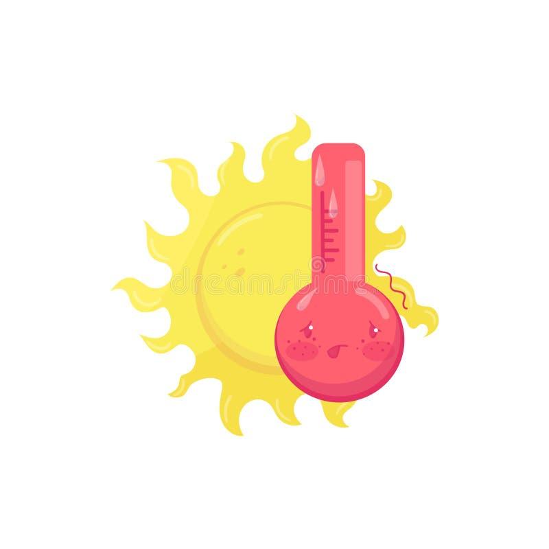 Postać z kreskówki gorący pocenie termometr, żółty słońce za on Kolorowy płaski wektorowy element dla wiszącej ozdoby royalty ilustracja