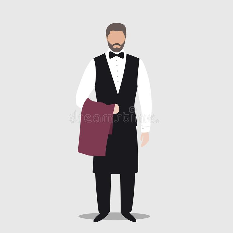 Postać z kreskówki kelner jest ubranym jednolitą mienie pieluchę Prosta płaska ilustracja fotografia stock