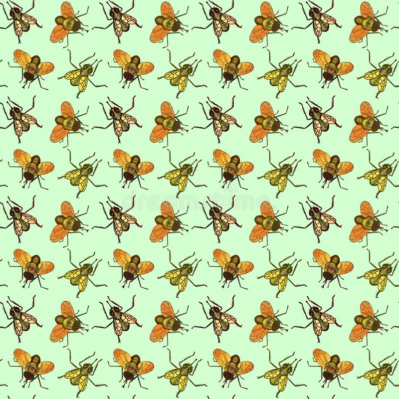 Postać z kreskówki komarnicy, odgórny widok, ręka rysujący doodle nakreślenie, ilustracja, bezszwowy deseniowy projekt na miękkie ilustracja wektor