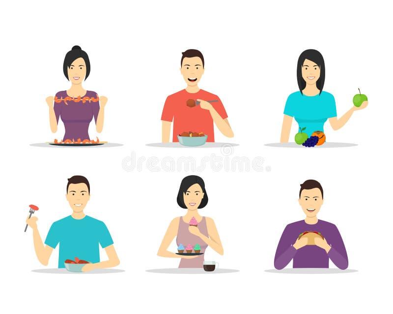 Postać Z Kreskówki ludzie Je posiłki Ustawiających wektor ilustracji