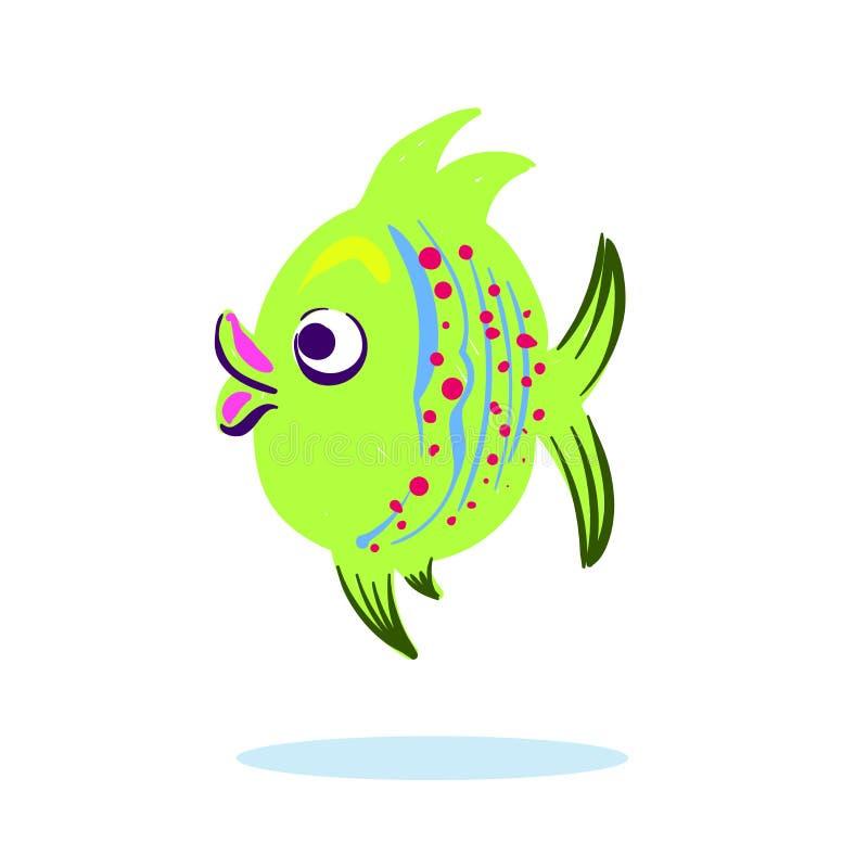 Postać z kreskówki maskotki śliczna ryba odizolowywająca na białej wektorowej ilustraci ilustracji