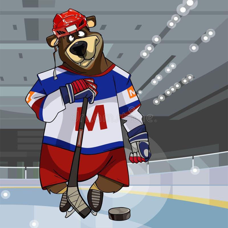 Postać z kreskówki niedźwiedź ubierał w odzieżowym gracz w hokeja z kijem i krążkiem hokojowym ilustracja wektor