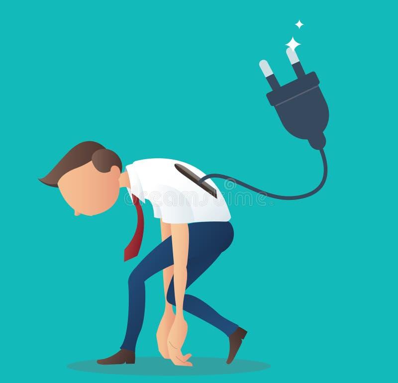 Postać z kreskówki, niski bateryjny biznesmen z elektryczną prymką, wektor eps10 ilustracja wektor