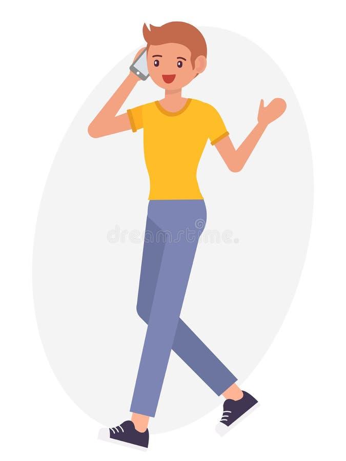Postać z kreskówki projekta mężczyzna odprowadzenia męska rozmowa na telefonu chee ilustracji