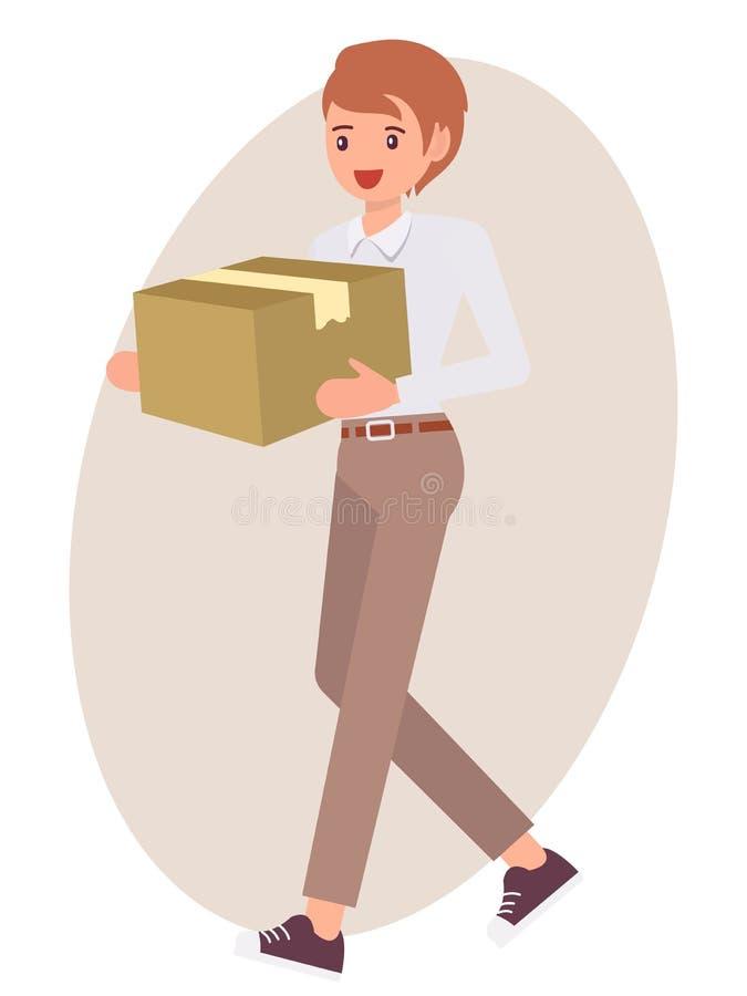 Postać z kreskówki projekta męski mężczyzna niesie papierowego pudełko royalty ilustracja
