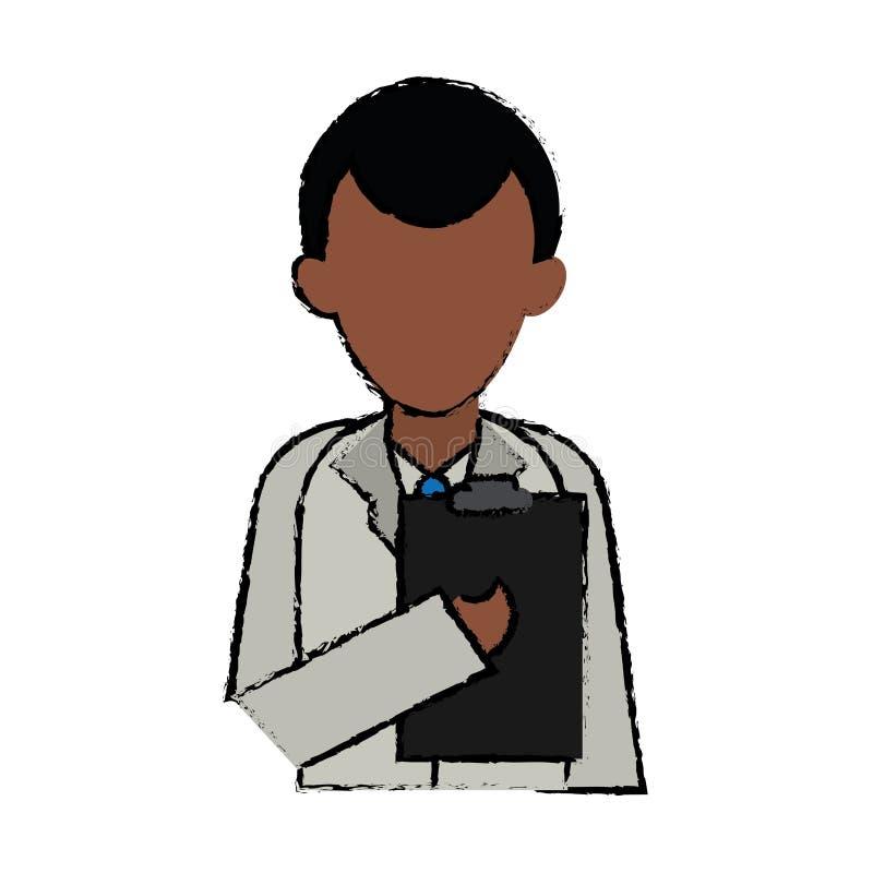 Postać z kreskówki schowka munduru doktorska medycyna ilustracja wektor