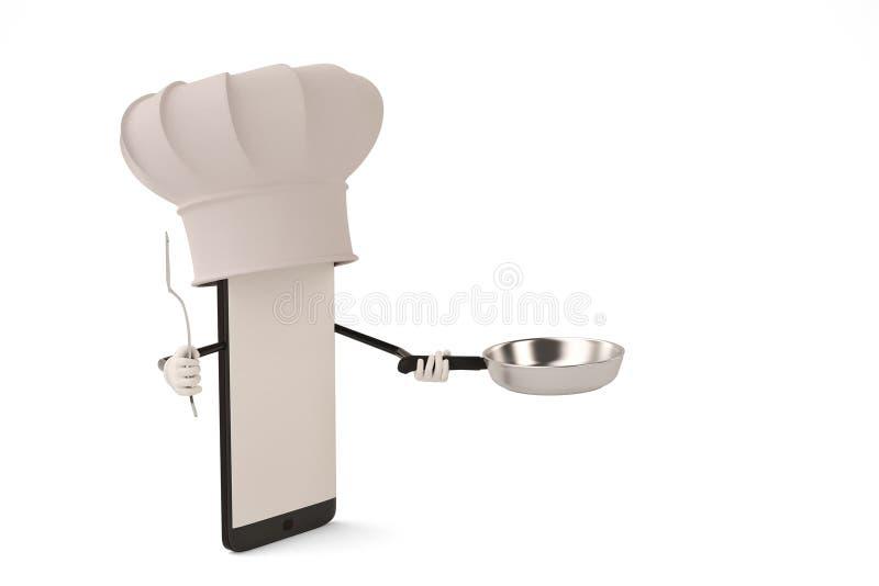 Postać z kreskówki smartphone garnek i kucharz ilustracja 3 d royalty ilustracja