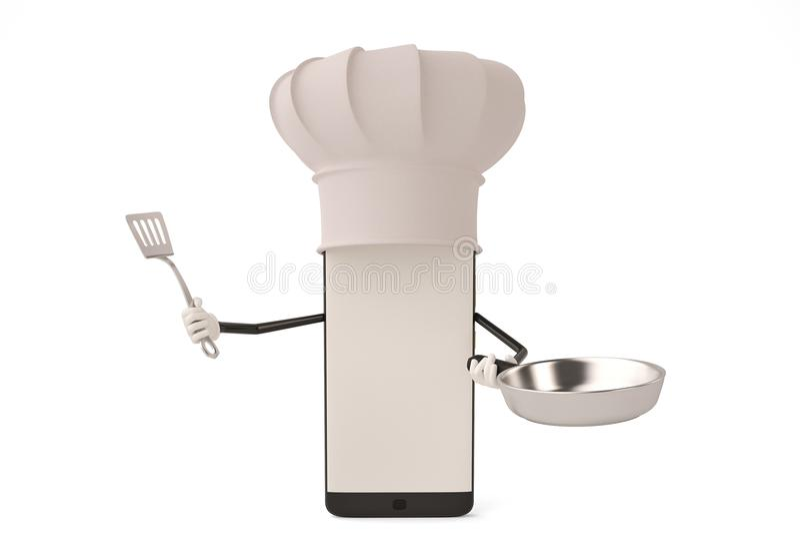 Postać z kreskówki smartphone garnek i kucharz ilustracja 3 d ilustracja wektor