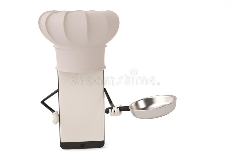Postać z kreskówki smartphone garnek i kucharz ilustracja 3 d ilustracji